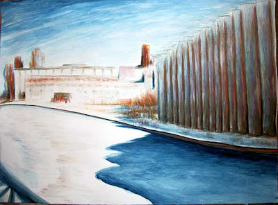 grain elevators, buffalo river, winter, patrick willett, landscape paintings, albright knox, buffalo history museum, burchfield penney