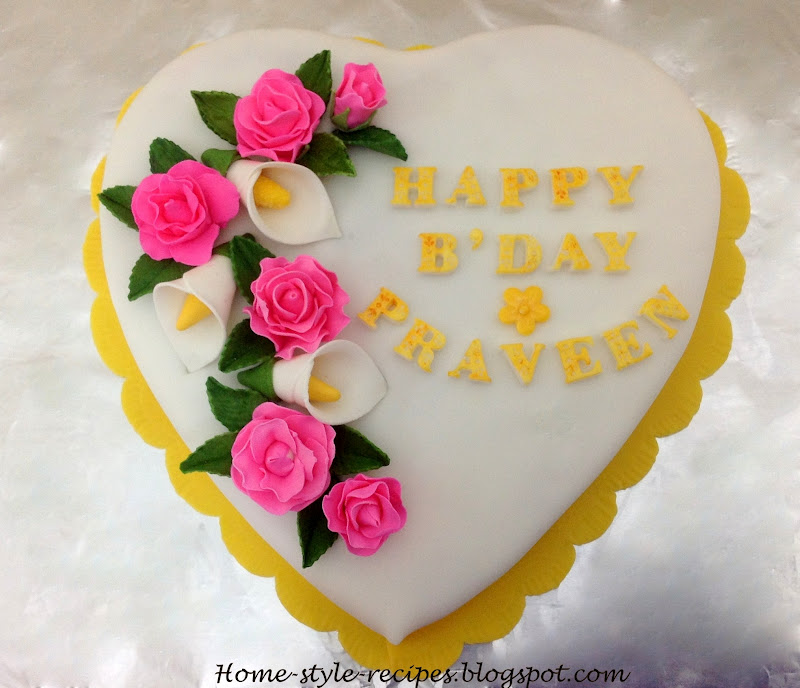 ShareARecipe Heart Shape Cake with Roses and Calla lily