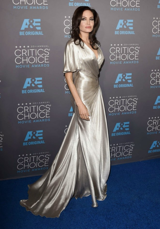 Angelina Jolie is seductive in silver Atelier Versace at the 2015 Critics' Choice Movie Awards