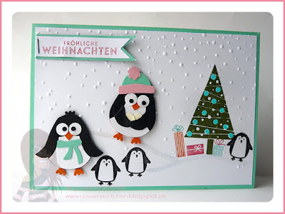 Rosa Mädchen Stampin' Up! Weihnachtskarte mit Punch Art Pinguinen, Christbaumfestival und Jolly Bingo Bits