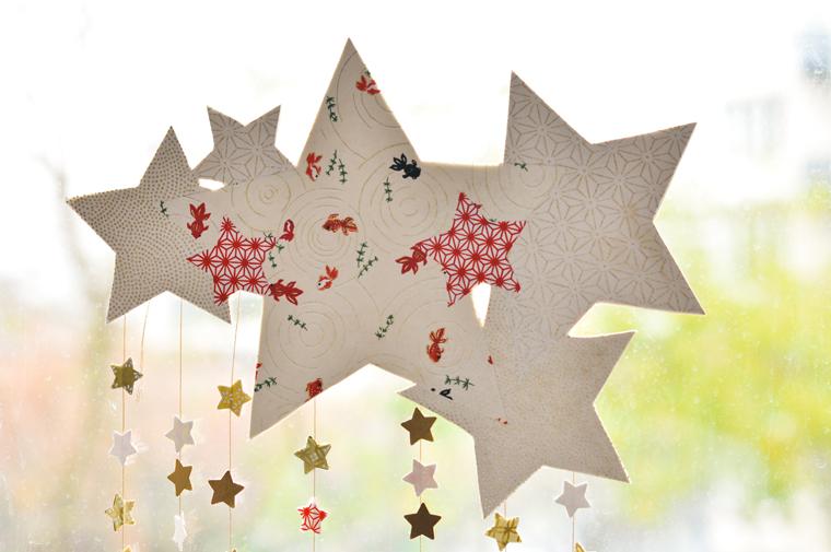 diynavidad mvil de estrellas y papel decorativo o washi