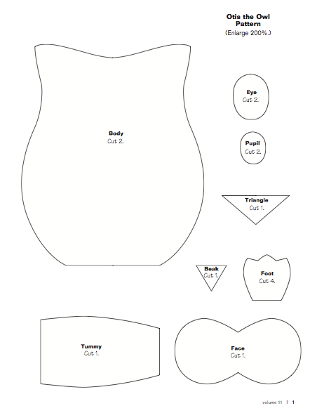 Owl patterns owl and patterns on pinterest for Owl templates for sewing