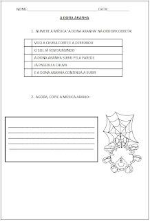 Atividade com Parlendas - A Dona aranha Letra - Numere a música A Dona Aranha 2