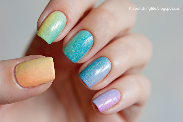 A rainbow gradient with ILNP My Private Rainbow.