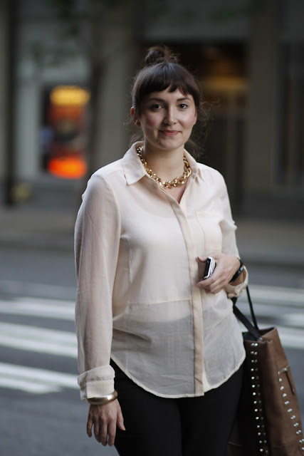 Vanessa Duello Downtown Seattle sheer shirt street style fashion