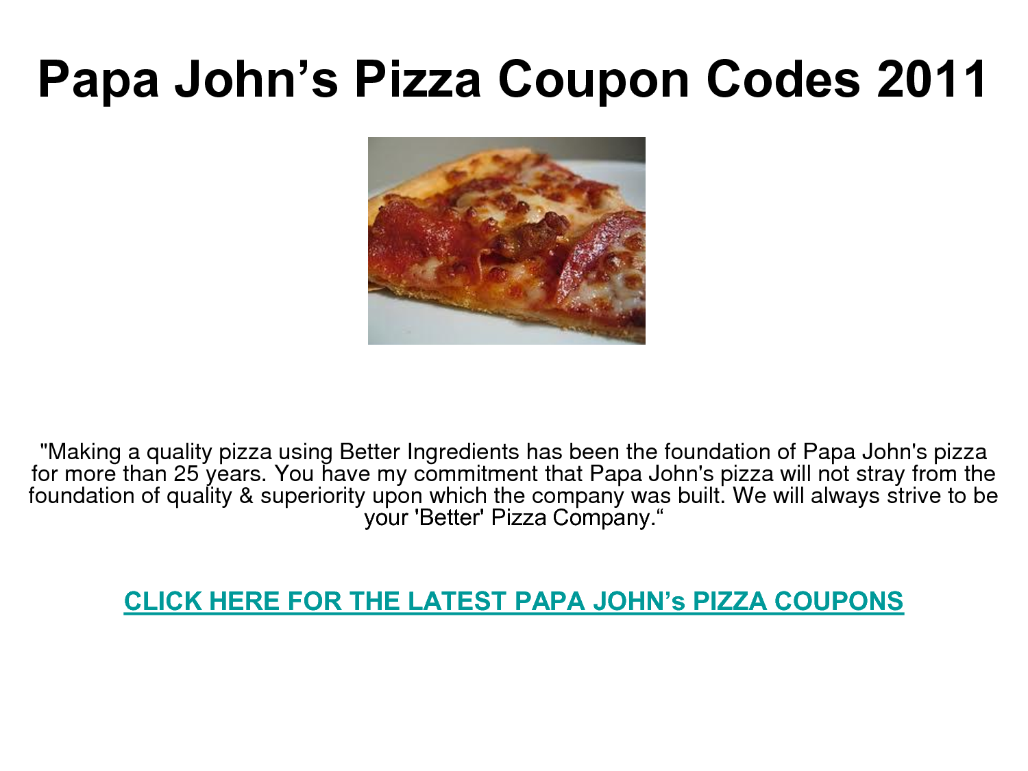 Coupon codes for free pizza