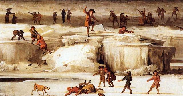 O rio Tamisa, Londres, congelado na anterior mini-Idade do Gelo, s�culo XVII