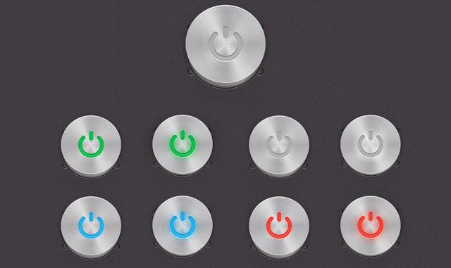 A Steel, Vector Power Button Set