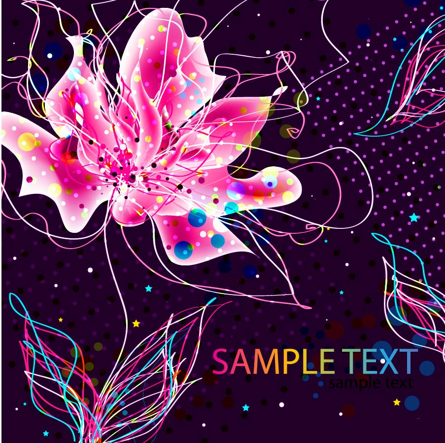 カラフルなラインで飾った花ビラの背景 Abstract Colorful Floral Background イラスト素材
