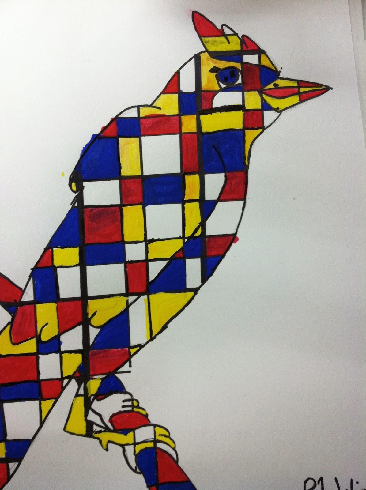 Mrs wille 39 s art room mondrian inspired animal paintings for Art et cuisine rm 101