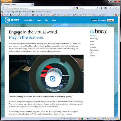 Screen shot of http://www.gosphero.com/company.