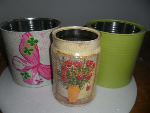 Luci artes latas recicladas com pintura e decoupage - Pintura para decoupage ...
