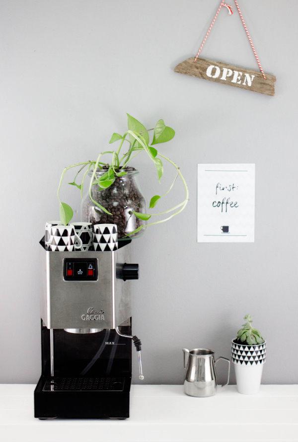 Die Kaffee-Ecke mit neuer DIY Begrünung