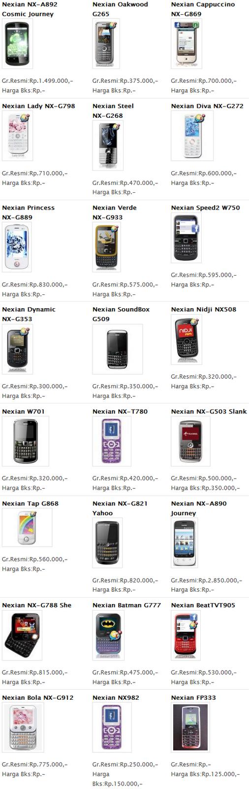 Harga HP Nexian Februari 2012 Baru Bekas.png