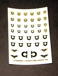 Hoja de calcas de la caja de Space Marines Warrior of the Imperium