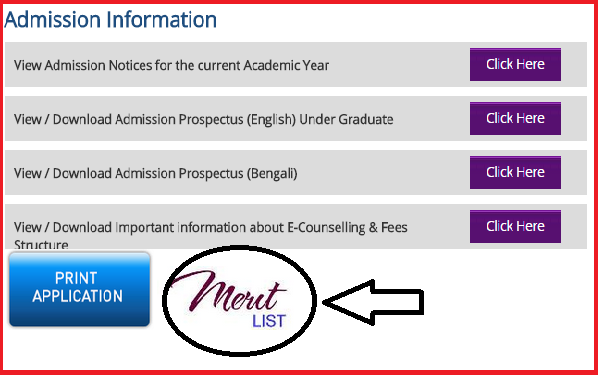 Malda College Online Admission Session 2015-2016 Merit List & Subject Wise In-take Seat Capasity