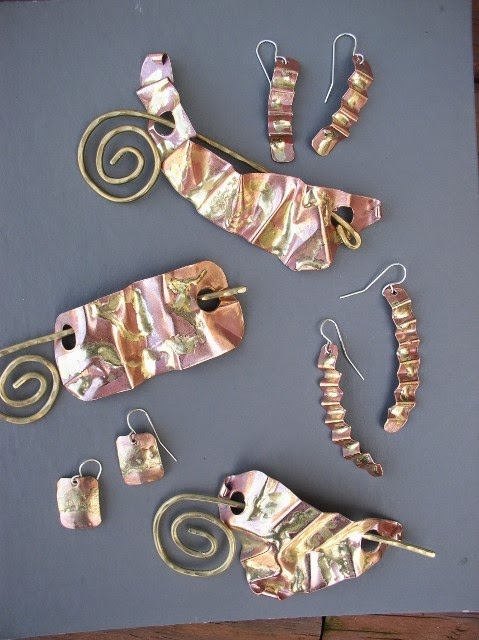 Bronze on Copper Scarf pins and Matching Earrings