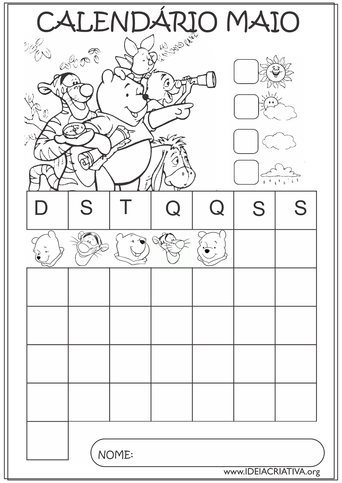 Calendários Maio 2015 Turma do Pooh Educação Infantil