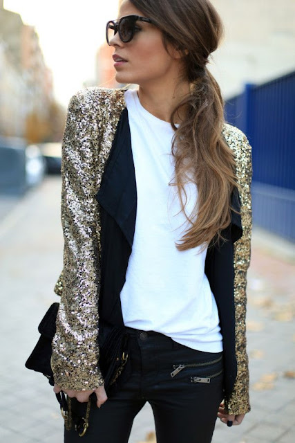 New Year's Eve outfit idea, what to wear for NYE, gold blazer, gold jacket
