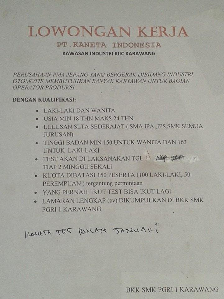 Lowongan Kerja PT Kaneta Indonesia KIIC Karawang di BKK SMK PGRI 1 KARAWANG
