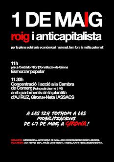 Maig Roig i Anticapitalista. Esmorzar popular i concentració davant la Cambra de Comerç de Girona.