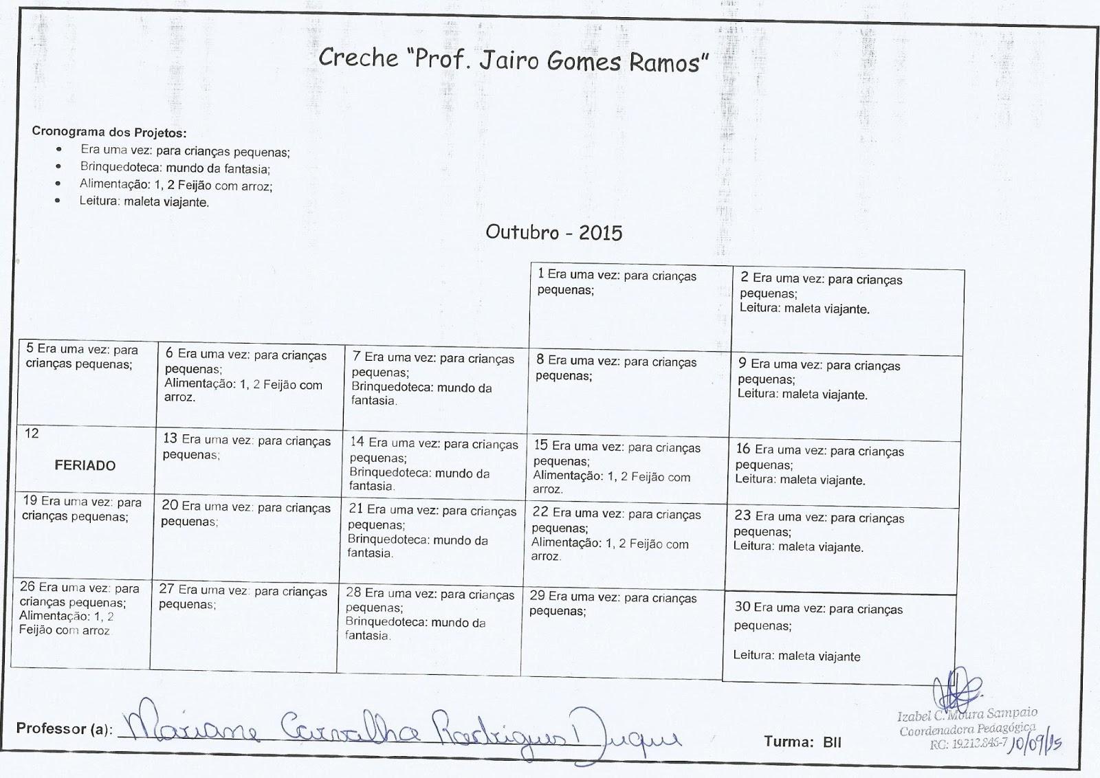 Amado Coordenação Pedagógica - Izabel C. M. Sampaio: CRONOGRAMA DOS  GC75