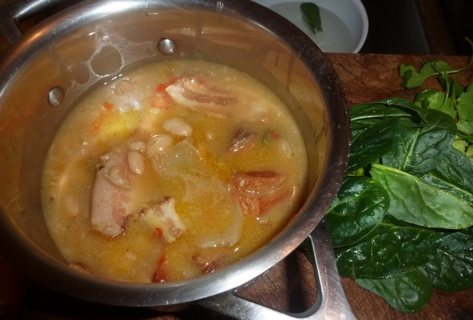 James Walsh Food And Movie Diary: White Bean , Bacon And Spinach Soup.