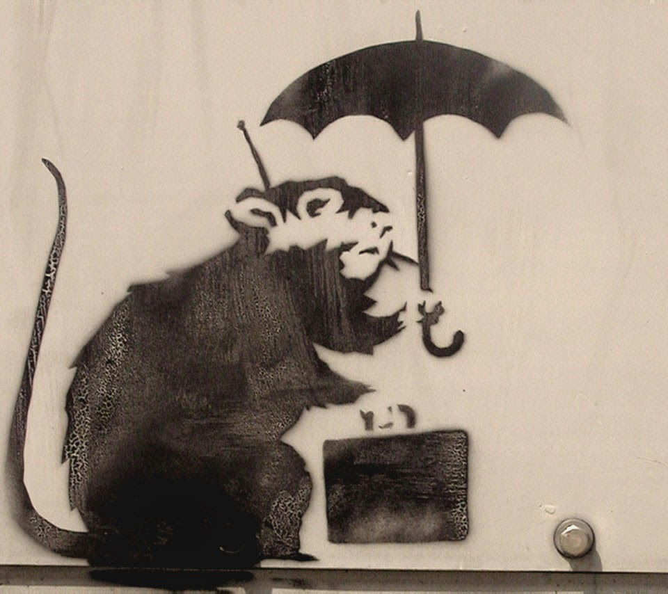 Stencil Mouse/Rat with an umbrella and suitcase on the wall