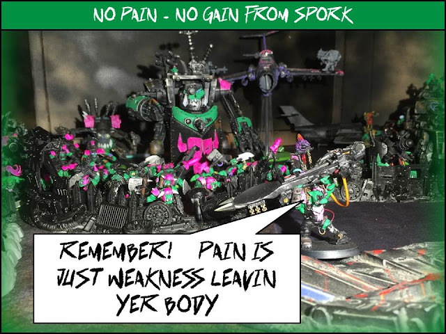 Ork Plan; Ork Motivation; 40K Humor; Battle Gaming One; Fork and Spork; Pink Orks; Pink Orkies