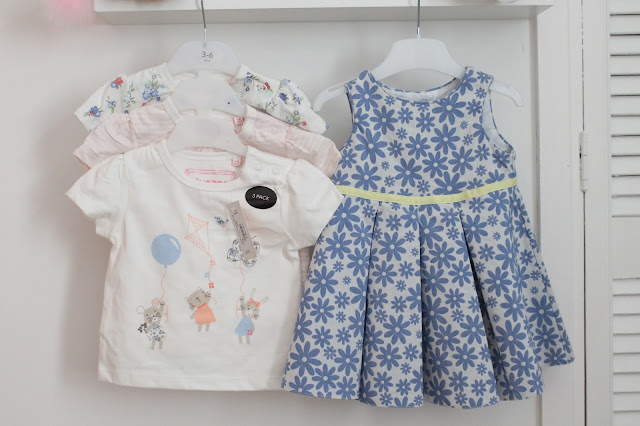 Jasper Conran babies dress white with blue flowers and a yellow band - pack of three t-shirts one with mouse holding balloons one floral and one plain cream
