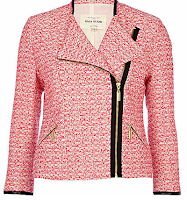 Pink Tweed Biker Jacket Riverisland