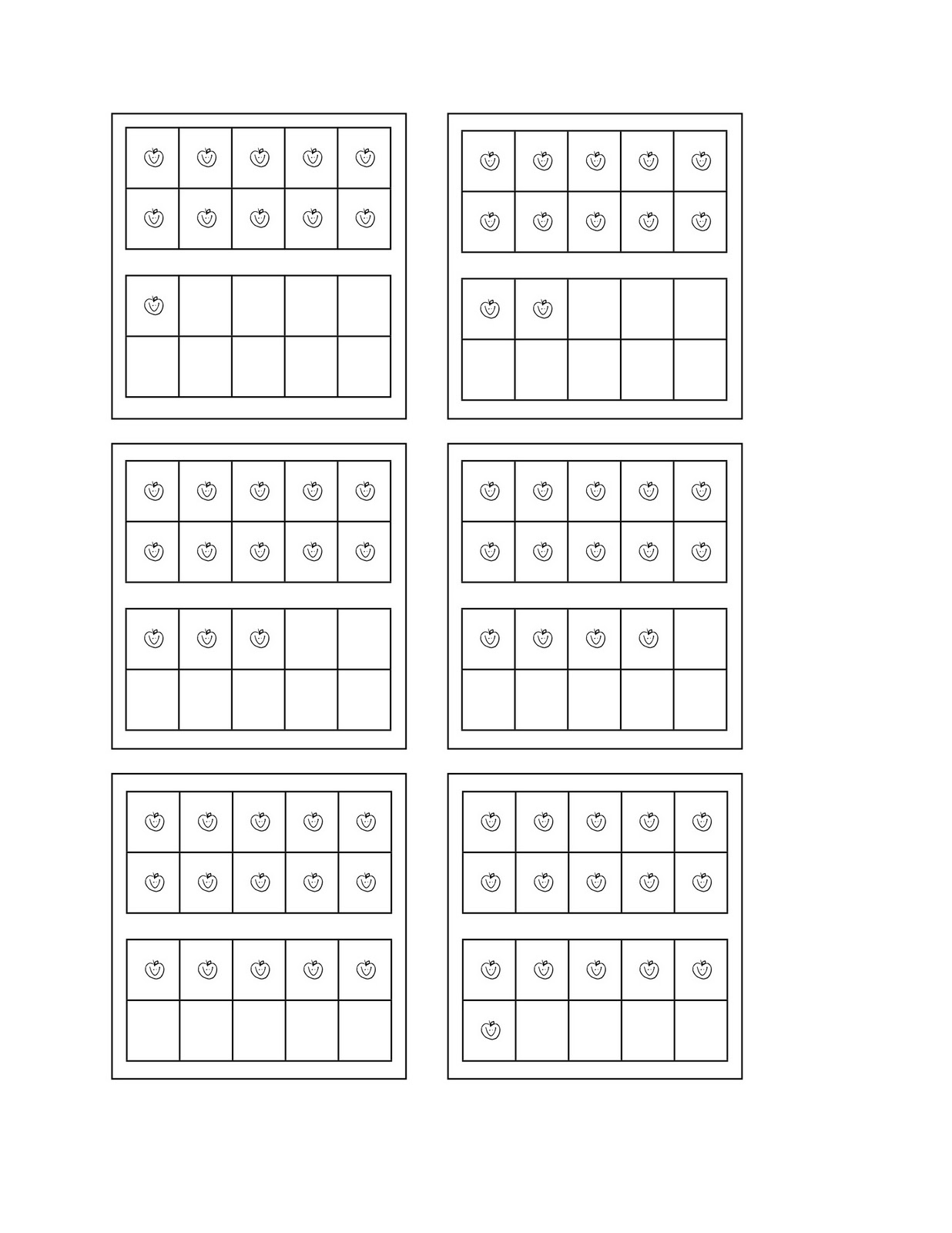 Five Frame Math Template http://kindergartennightowls.blogspot.com/2011/10/double-ten-frames.html