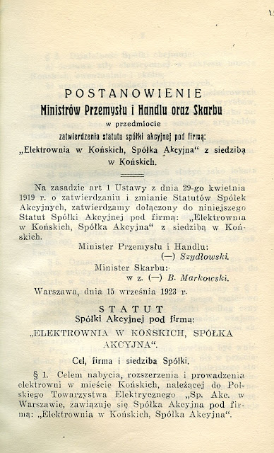 Elektrownia w Końskich - statut spółki akcyjnej, opublikowany w formie 20. stronicowej książeczki w 1923; przedruk z Monitora Polskiego nr 224 z 3 października 1923. Dok. ze zbiorów KW.