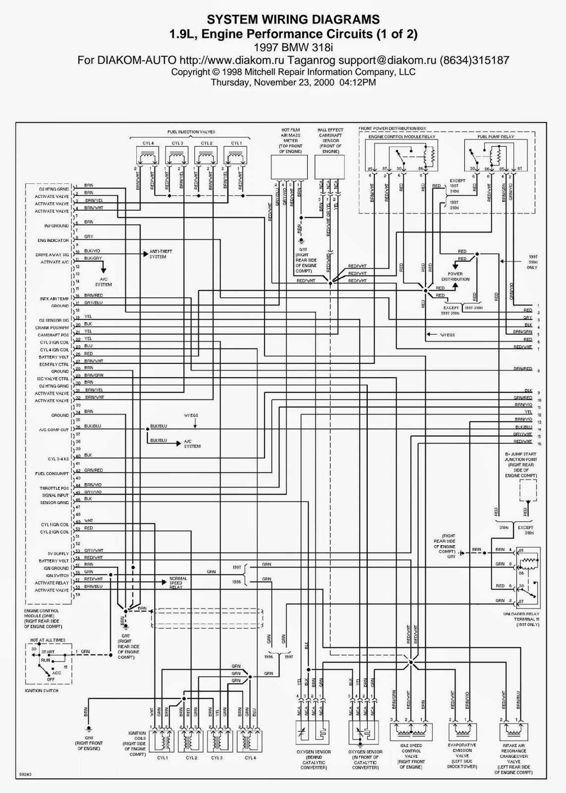 Wiring Diagrams And Free Manual Ebooks  1997 Bmw 318i 1 9l Engine Performance Circuits