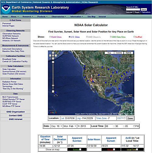 RADIOTIMETRAVELLER The New NOAA Solar Calculator - Solar calculator map