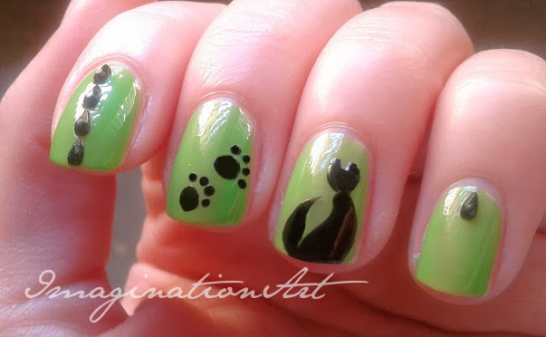 halloween gatto nero black cat nail art unghie