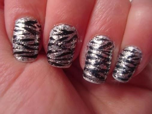 Zebra Glitter Nail Tips