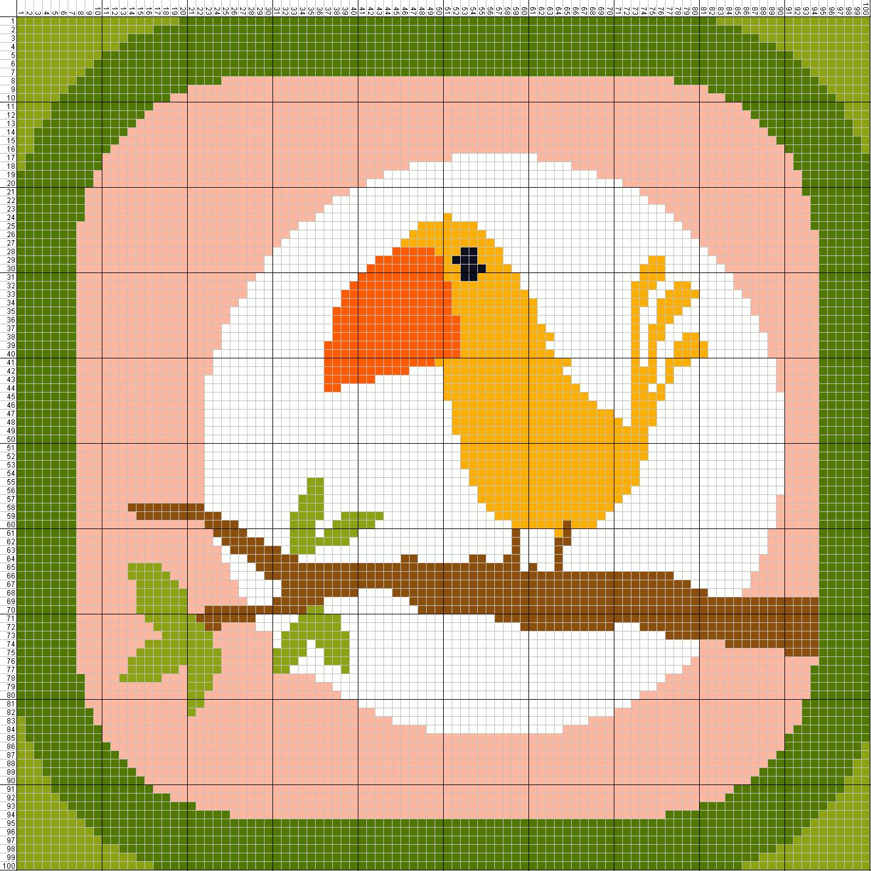 Gambar Pola Kristik Sederhana Burung Lucu