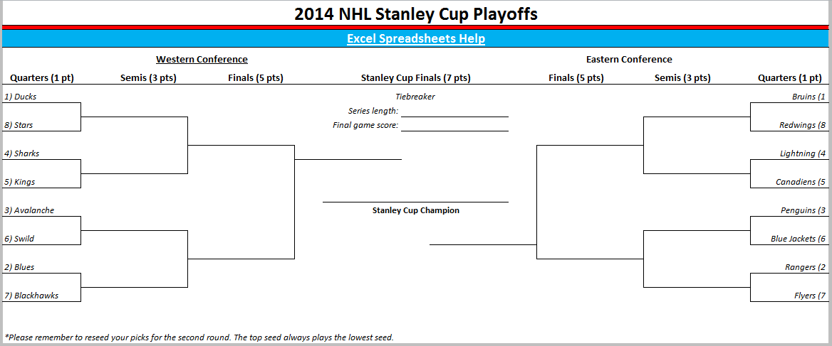 The 2014 NHL playoff schedule is included in the spreadsheet and lists