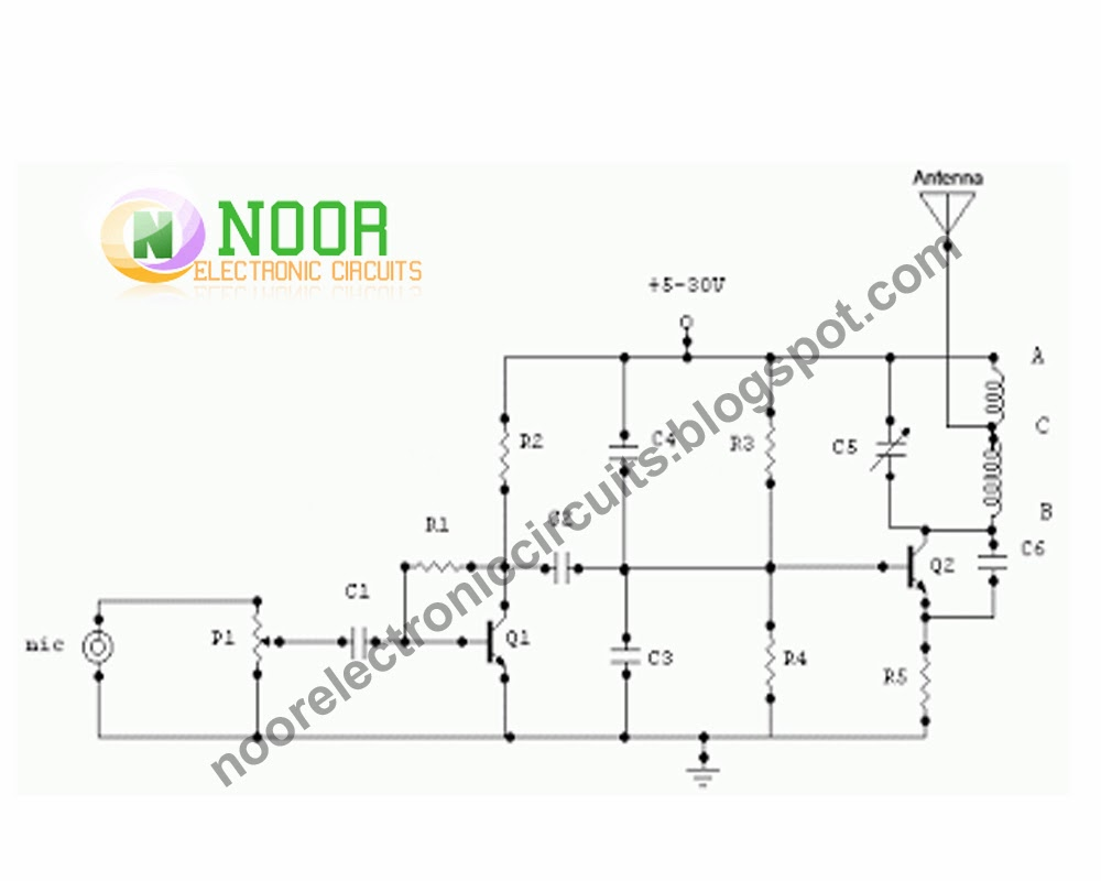 Noor Electronic Circuits 2013 2 Transistor Mini Fm Transmitter This Is 15 Watt Circuit Should Be Able To Cover 1 Km Range