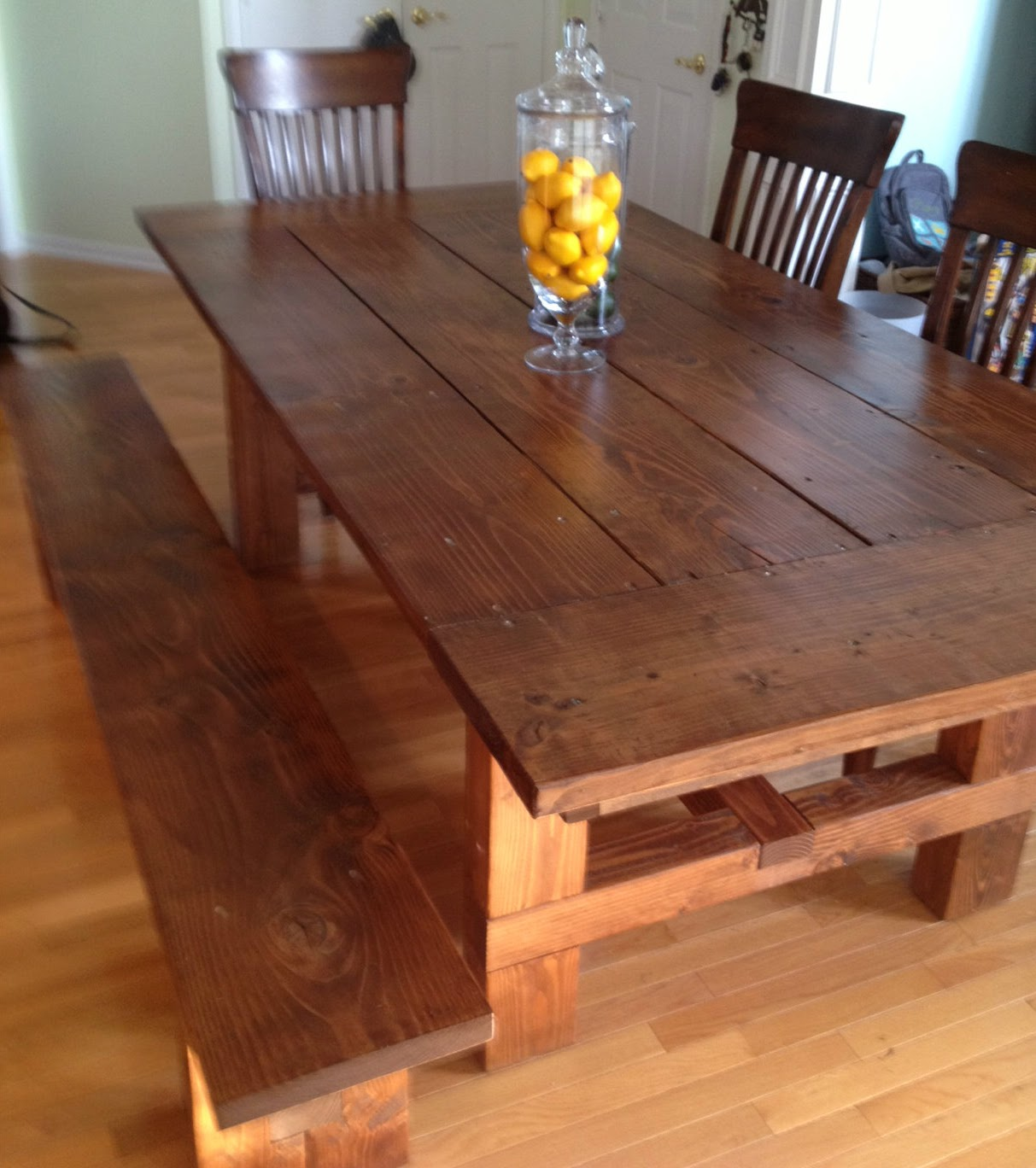 Dad built this how to build a farmhouse table - Kitchen bench diy ...