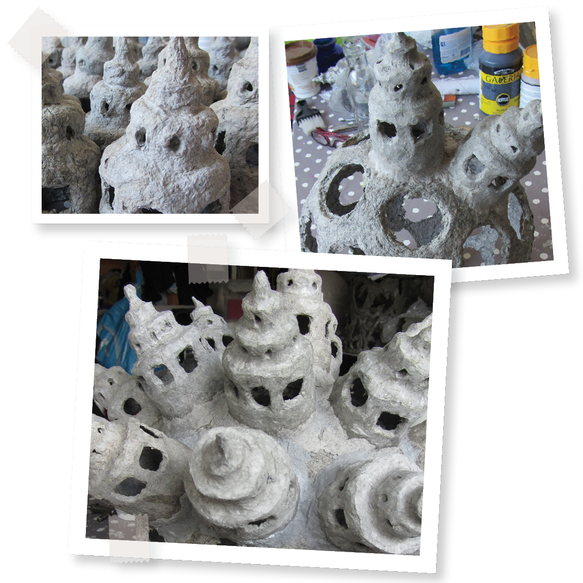 Pulphokblog papier mache object met torens paper mache for Paper mache objects