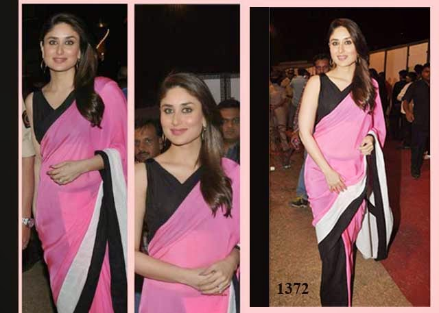 1372 - Kareena Kapoor in beautiful pink and black designer half and half saree