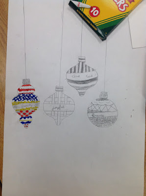 Fourth Grade Art Variety Negative Positive Space Design Christmas Ornaments