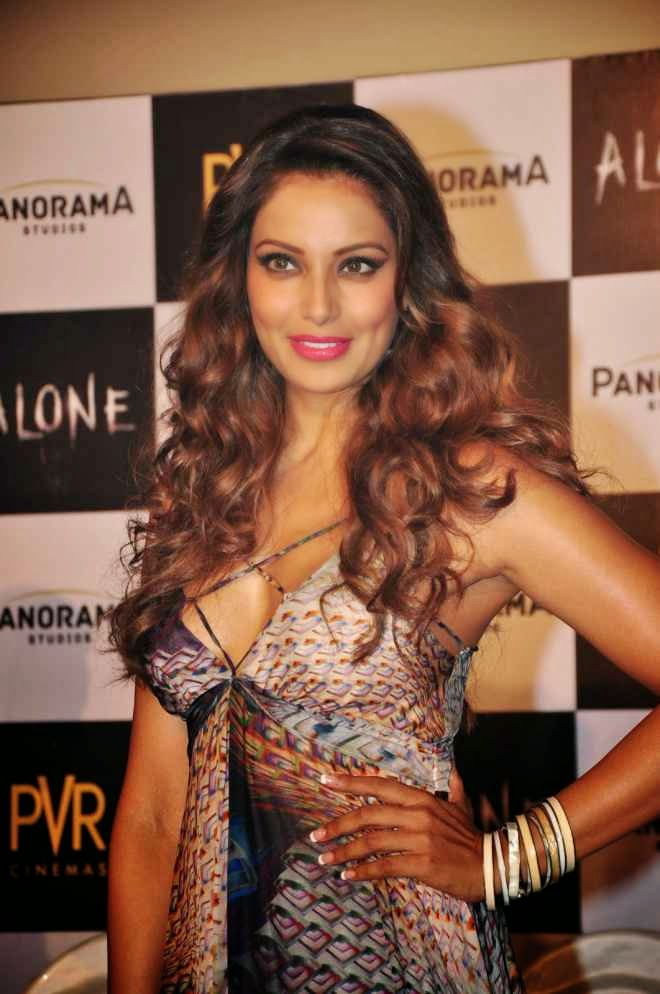 Bipasha Basu Hot Photos in Deep V Neck Long Sleevless Gown at Alone Movie Promotion