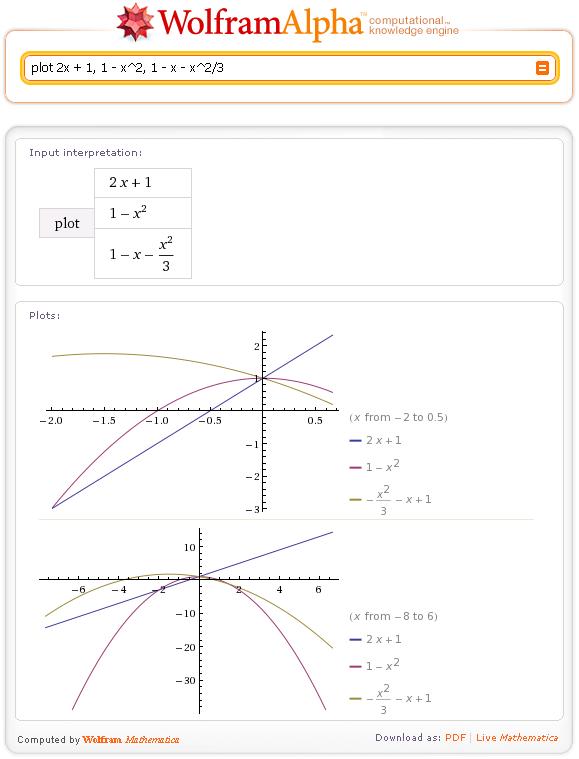 два графика wolfram