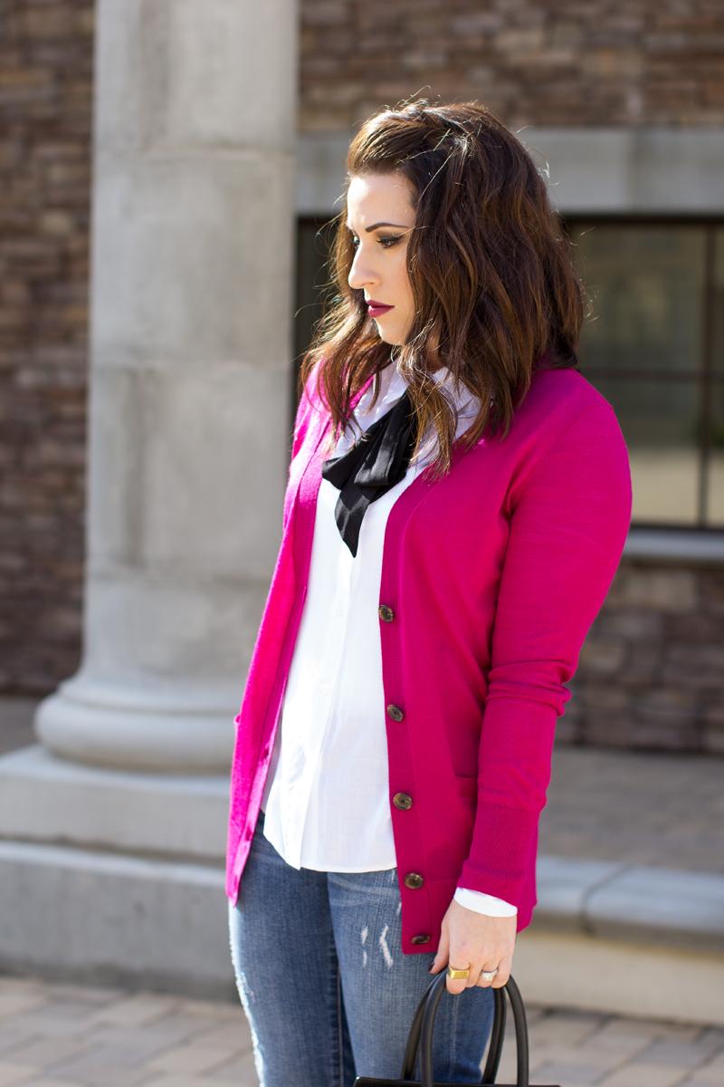 pink cardigan, tie neck shirt