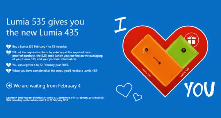 Perayaan Valentine, Beli Lumia 535 Dapat Gratis Lumia 435