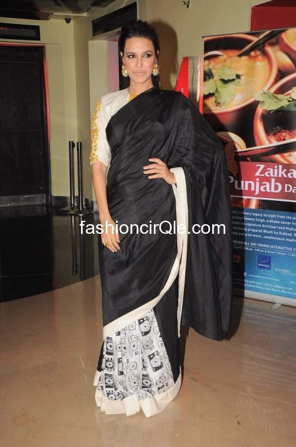 Neha dhupia wears a black and white sari - (2) -  Neha Dhupia at Maximum Film Music launch