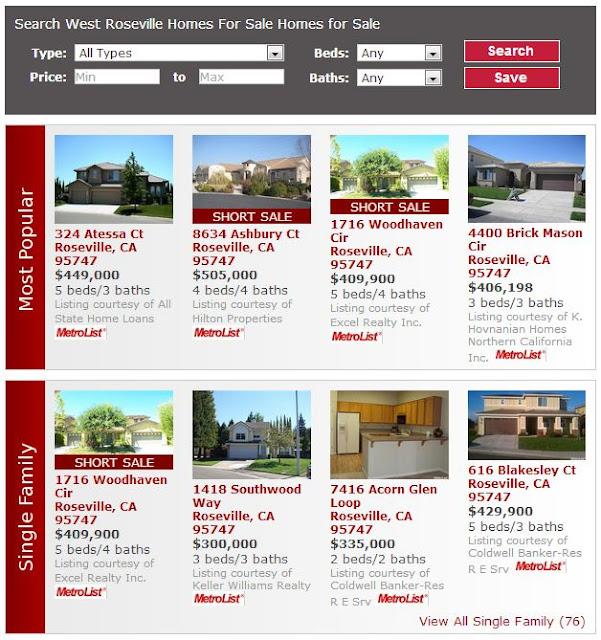 West Roseville Homes For Sale